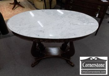 6320-573 - Walnut Oval Marbletop Stand