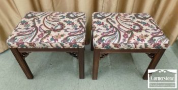 6320-743 - Pair of Ethan Allen Mahogany Chippendale Upholstered Stools