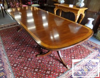 6320-806 - Ethan Allen Mahogany Pedestal Table with 2 Leaves