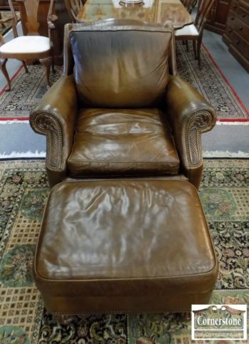 6320-855 - Orvis Brown Leather Chair and Ottoman