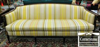6320-89 Hickory Chair Federal Style Upholstered Sofa with Mahogany Frame and Sheraton Legs