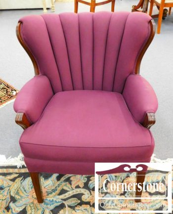 6337-1 1930's Upholstered Channel Back Chair