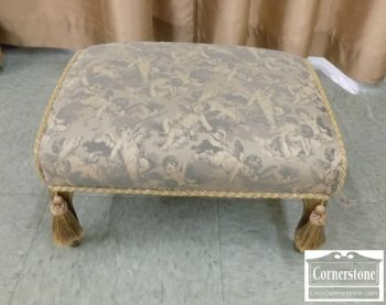 6337-4 - Green Footstool with Brass Legs