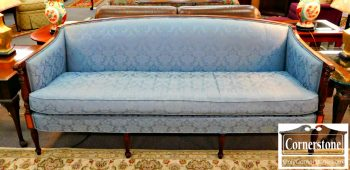 6344-1 Hickory Chair Federal Style Mahogany Upholstered Blue Sofa