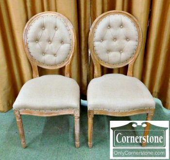 6364-2 Pair of French Style Oval Back Side Chairs