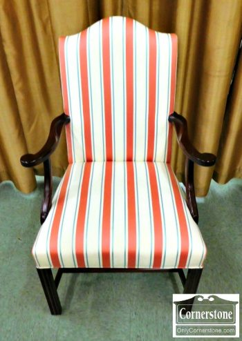 6364-3 - Hickory Chair Mahogany Federal Style Striped Upholstered Arm Chair