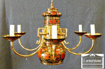 6366-1 Brass & Enamel Chandelier