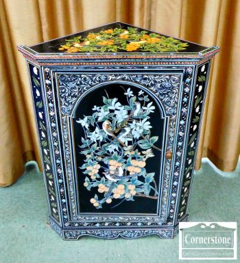 6378-2 - Painted Decorated Hanging Corner Cabinet