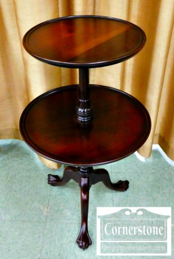 6380-2 - Solid Mahogany Chippendale 2 Tier Tripod Table