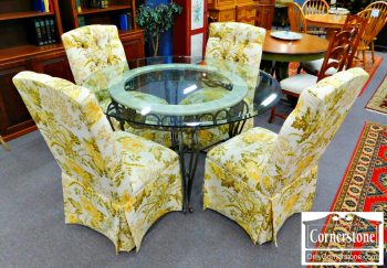 6382-1 - Contemporary Round Glass Top Table with 4 Parson's Chairs