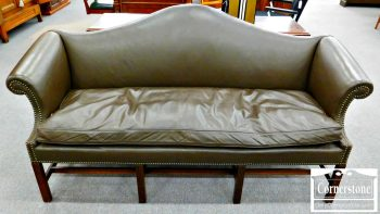 6383-6 Kittinger Mahogany Chippendale Leather Camelback Sofa
