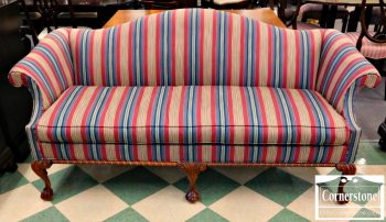 6397-1 Hickory Chair Chippendale Striped Camelback Sofa