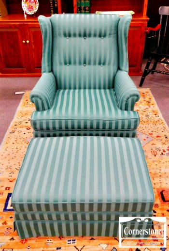 6402-4 - Green Wing Chair and Ottoman