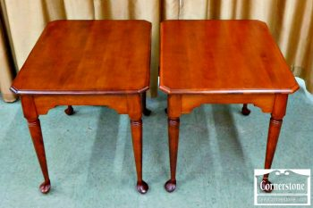 6402-5 - Pair of Nichols & Stone Maple Queen Anne End Tables