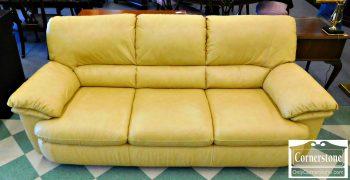 6413-1 - Natuzzi Contemporary Leather Butter Color Sofa