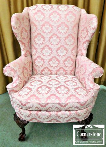 6424-1 Thomasville Pink Chippendale Upholstered Wing Chair (2)