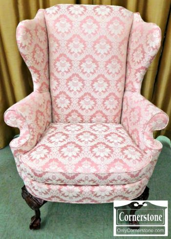 6424-2 Thomasville Pink Chippendale Upholstered Wing Chair (2)