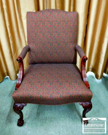 6446-2 - Mahogany Chippendale Upholstered Arm Chair with Ball & Claw Feet