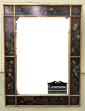 6449-1 Faux Bamboo Gold and Black Painted Mirror