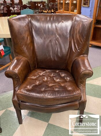 6450-3 - Rest Hard Contemp Brown Leath Wing Chair
