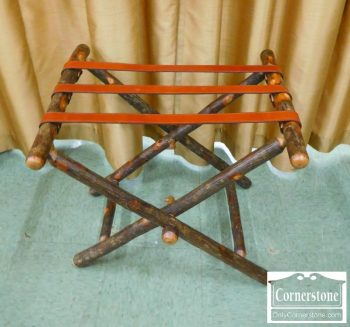 6457-3 - Attributed to Old Hickory - Hickory Rustic Cabin Folding Luggage Rack with Leather Straps