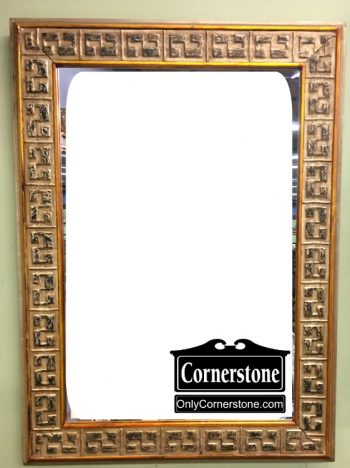 6480-3 Gold Distressed Painted Beveled Mirror