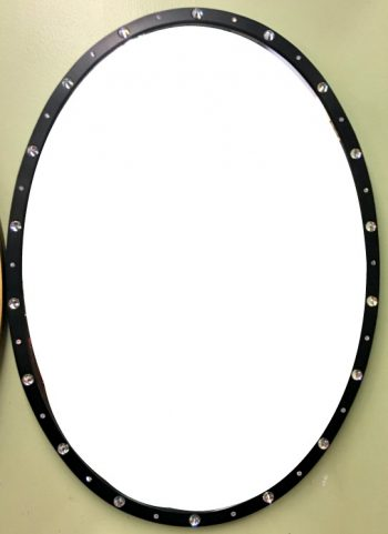 6482-1 (1) 28x38 Black Gloss with Crystals Framed Beveled Mirror