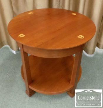 6489-7 - Stickley Cherry Round Inlaid End Table