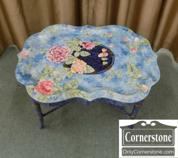 6495-3 - Maitland Smith Blue Floral Dec. Tray on Stand