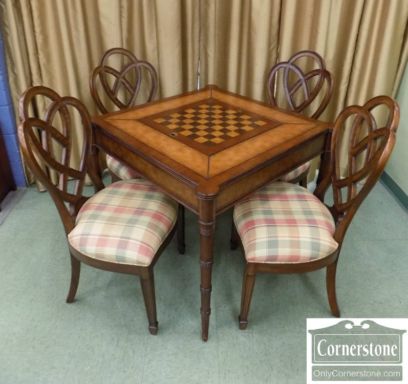 Ethan Allen Mahogany Game Table With 4 Chairs   Ethan Allen Furniture Stores