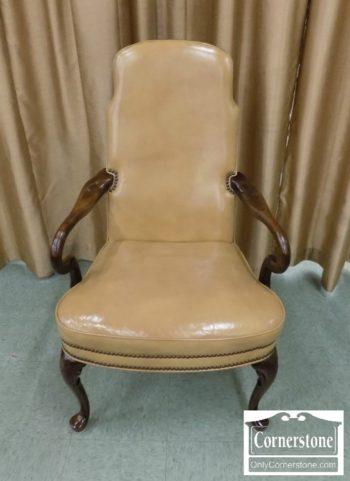 6512-40 - Queen Anne Tan Leather Arm Chair