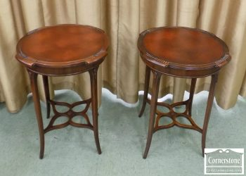 6552-1 - Pair of Mahogany Leathertop End Tables