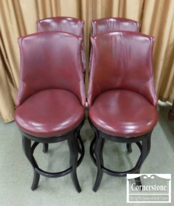 6556-1 - Set of 4 Hancock & Moore Red Leather Bar Stools
