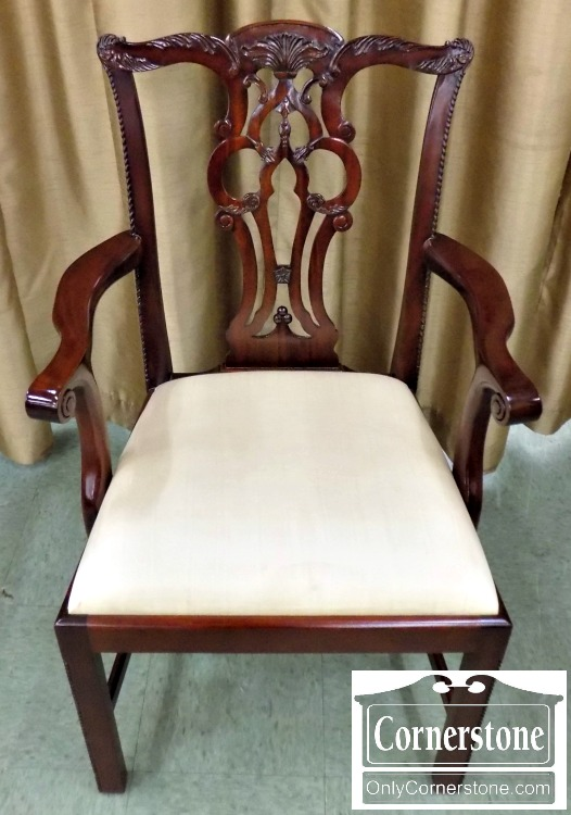 Set Of 8 Maitland Smith Solid Mahogany Chippendale Dining Chairs