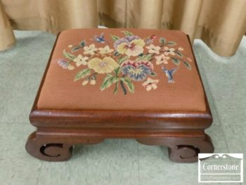 6597-4 - Mahogany Empire Needlepoint Footstool