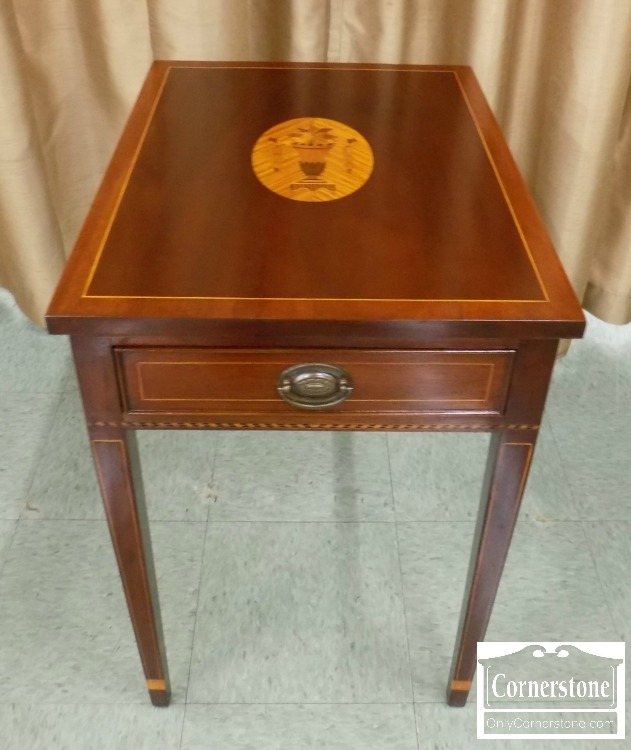 6652 1   Potthast Mahogany Inlaid End Table