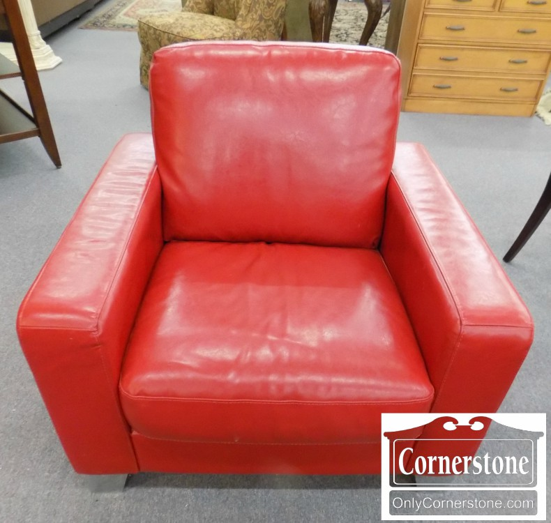 Natuzzi Red Leather Modern / Contemporary Chair | Baltimore ...