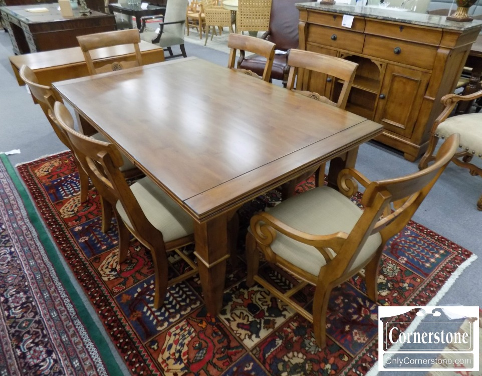 6670 604   Kincaid Cherry Table With 2 Leaves And 6 Chairs
