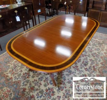 6670-737 - Banded Mah Table with 2 Leaves