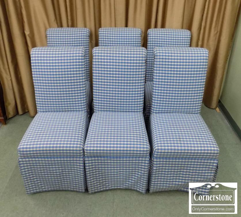 6670 814   6 Piere Deux Blue White Parsons Chairs