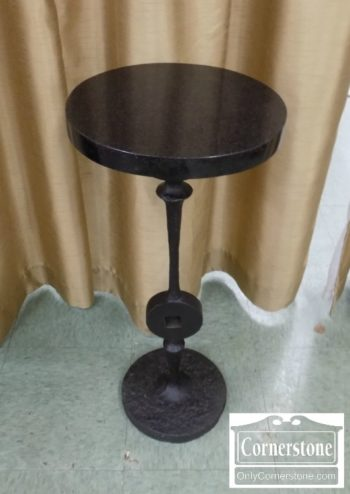 6670-900 - Round Marble Top Stand with Metal Base