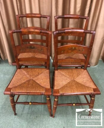 6676-12 - 4 Nichols and Stone Rush Seat Side Chairs