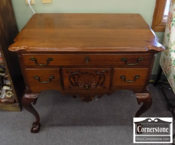 6713-20 - Cabinet Made Sol Walnut Chipp Lowboy with Shell Carving