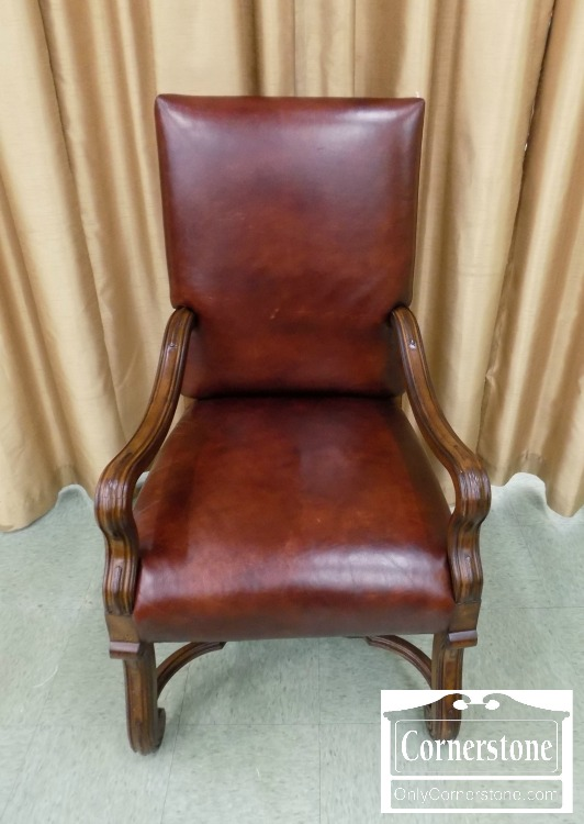 Ralph Lauren Elizabethan Brown Leather Chair With Arms | Baltimore,  Maryland Furniture Store U2013 Cornerstone