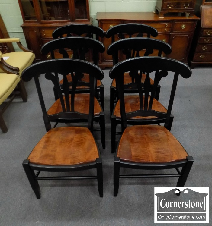 6848 2   Set Of 6 Zimmerman Chair Co. Contemporary Black U0026 Tiger Maple