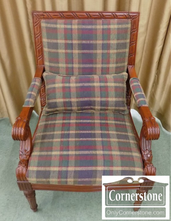 Exposed Wood Arm Chair With Plaid Upholstery