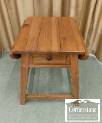6863-16 - Broyhill Oak Rustic Drop Leaf End Table