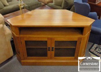 Beau Stickley Solid Oak Corner Media Cabinet