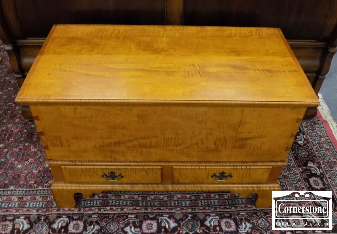 6891 1   Eldred Wheeler Tiger Maple Blanket Chest