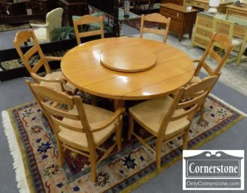 6907-1 - Round Casual Maple Table with Lazy Susan and 6 Chairs